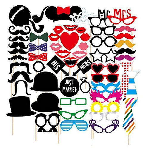 TOAOB Photo Booth Props 58 piece DIY Kit for Wedding Party Reunions Birthdays Photobooth Dress-up Accessories & Party Favors, Costumes with Mustache on a stick, Hats, Glasses, Mouth, Bowler