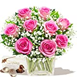 ALLURE BOUQUET & CHOCOLATES - Exclusive Bouquets of Pink Roses Happy Birthday Thank You by Eden4flowers