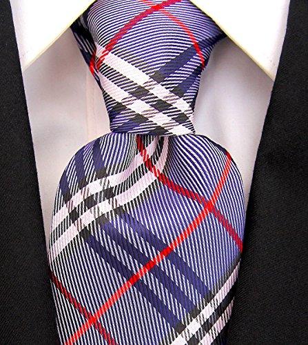 Scott Allan Mens Plaid Neckties Mens Formal Tie - Blue & Red (Scott Allan Red Ties compare prices)
