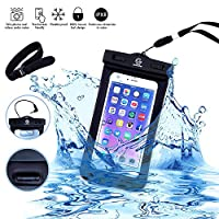 Universal Waterproof Dry Bag Case (Floatable) for iPhone 6 Plus, and other Smartphone Devices - Armband + Headphone Jack + Lanyard (Neck Strap) - Protects from Water/Snow/Dust/Dirt