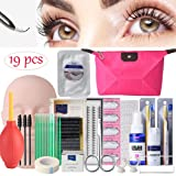 19PCS False Eyelashes Extension Practice Exercise Set, EBANKU Mannequin Training MakeUp False Eyelashes Extension Glue Tool Practice Kit With Bag For Makeup Practice Eye Lashes Graft (Color: 19PCS)