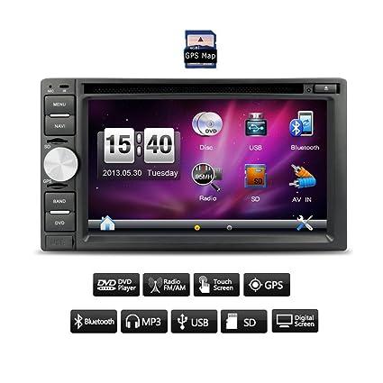 LCD 6.2 '' doble 2DIN HD Logo numšŠrique de la pantalla tš¢ctil de coches DVD GPS Autoradio Reproductor de CD en el tablero de la unidad Bluetooth Cabeza Autoradio RDS Radio všªdeo reproductor de MP3 USB SD multim&sca