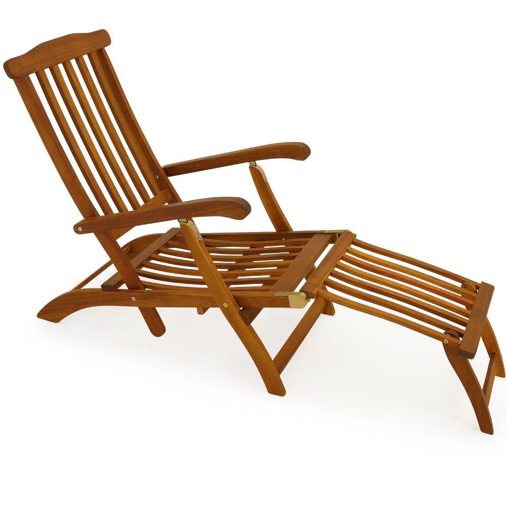 SSITG Holzliege Deckchair Sonnenliege Liegestuhl Liege Gartenliege Holz Gartenmöbel online bestellen
