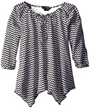 My Michelle Big Girls' Chevron-Printed Peasant Top with Lace-Back Yoke