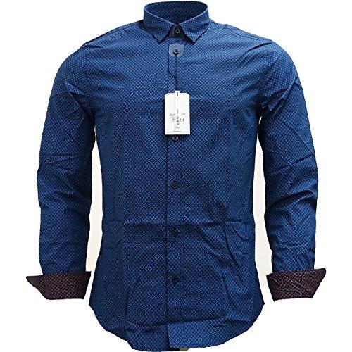 Mens Shirts Ben Sherman a maniche lunghe Slim Fit mod Squares Canal Blue Medium