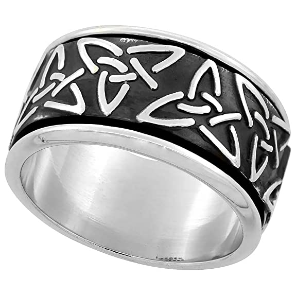Sterling Silver Men's Spinner Ring Celtic Trinity Triquetra Pattern Handmade,