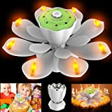 Homecube LED Birthday Candles, Flameless Musical Birthday Candles with 3 Adjustable Flash Modes, Rotatable Flower Birthday Cake Toy with Blow Out Design for Birthday Party Decoration (White) (Color: White)