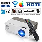 Smart Bluetooth WiFi Wireless Mini Projector LED LCD 2800 Lumen HDMI USB VGA Built-in Speaker Support 1080p HD Airplay Screen Mirror, Portable Video Projector Home Theater for Gaming Basement Outdoor (Color: 2800 Lumens Mini Projector WIFI Bluetooth)
