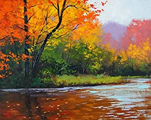 Red maple leaf beautiful riverside scenery for Oil paintings for sale amazon