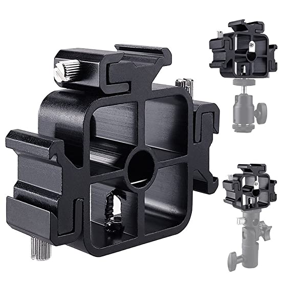 3 Triple Camera Flash Speedlite Mount Holder Cold Shoe Mount Flash Stand Bracket Adjustable Hot Shoe Adapter for Speedlight, Led Lights, LED Monitors, Microphones, Audio Recorder & Studio Flash