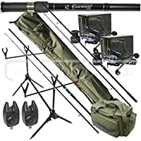 Oakwood Carp Deluxe Fishing Tackle Set Rods, Double Handle Reels, Rod Pod, Bite Alarms, 3+3 Rod Holdall & Tackle Carryall from REDWOODTACKLE