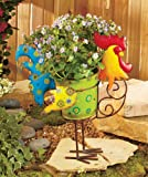 Vibrant Rooster Chicken Country Barnyard Whimsical Colorful Metal Garden Flower Pot Planter Adorable Spring Plant Herb Flowers Holder Yard Decor
