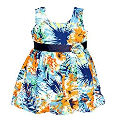 ChipChop Empire Waist Blue Casual wear Round Neck Dress for Girls