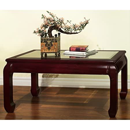 Hand Crafted Rosewood Ming Style Coffee Table with Glass Top