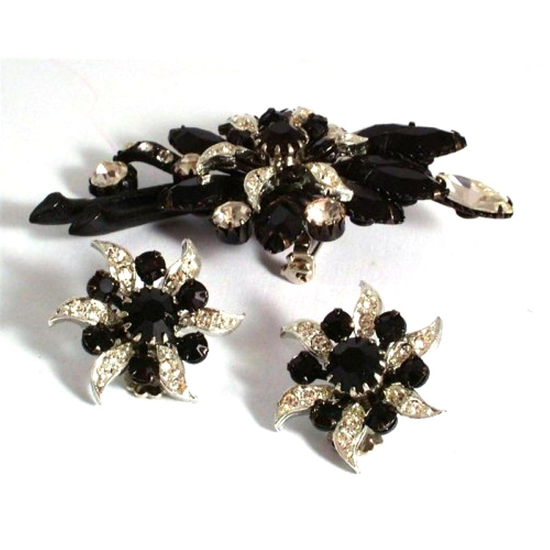 Damen Brosche im vintage-Stil und passende Ohrringe-schwarz-weiß im Blumen-design, 12217 günstig online kaufen