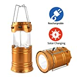 LED Camping Lantern, Solar and USB Charging Lantern Flashlight Collapsible and Portable Light for Daily/Camp/Hiking/Night Fishing/Emergency/Hurricanes/Storm(1 Pack) (Color: Gold)