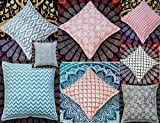 HANDICRAFTOFPINKCITY Indian Hand Block Print Cushion Cover 5 Pcs Whole Sale Lot Pillow Cover 16'' Size Cushion Cover