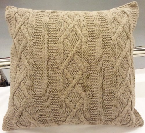 "Stunning Latte(Mushroom) Aran Cable Knit 100% Cotton 22"" Thick Heavyweight Cushion Cover Pillow Case Sham front-285093"