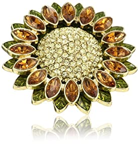 """Napier """"Gift Boxed"""" Gold-Tone Sunflower Pin"""