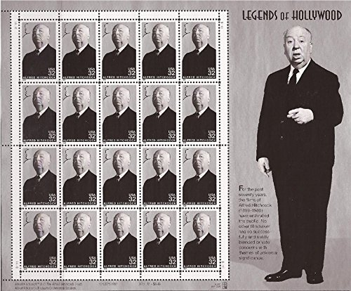 Alfred Hitchcock: Legends of Hollywood, Full Sheet of 20 x 32-Cent Postage Stamps, USA 1998, Scott 3226 - 1