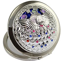 KOLIGHT® Bling Rhinestone Crystal Peacock Flower Double Sides (One is Normal,Another is Magnifying)Portable Foldable Pocket Metal Makeup Compact Mirror Woman Cosmetic Mirror