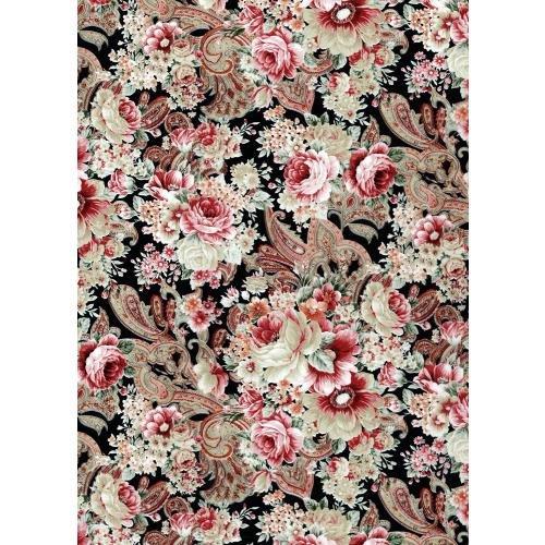 "Decoupage Paper Mache ""Vintage Black Pink Flowers And Paisley 590"""