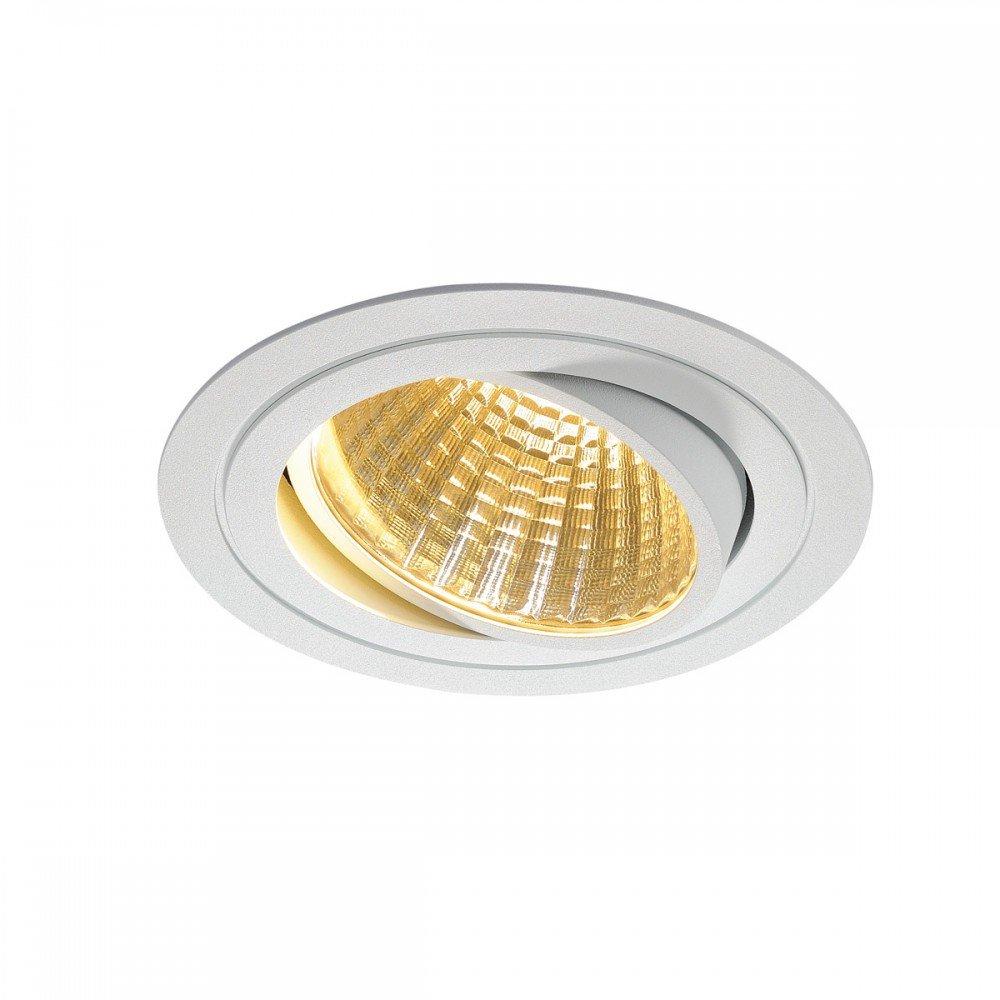 SLV LED Deckeneinbaustrahler New Tria DL Set, rund, COB, 2700K, 30 Grad, inklusiv Treiber, Clipfedern, weiß 114261