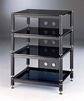 BLG Series Audio Video Rack w Black Shelves