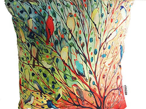 Oil Painting Hundreds of Birds Cotton Linen Throw Pillow Case Cushion Cover Home Sofa Decorative 18 X 18 Inch handpainted birds and leaf branch printed pillow case