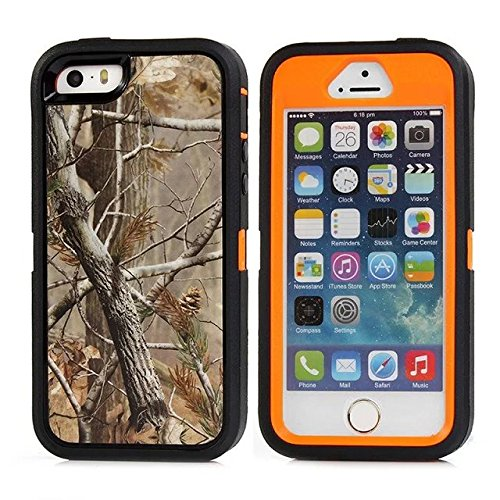 For Iphone 5 Case - Iphone 5s Case - FiversTM Heavy Duty Case 3 in 1 Three Advantages Waterproof Dustproof Shakeproof with Forest Camouflage Desig Cell Phone Cases for Iphone 5 5s Tree- Orange