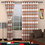 Ajay Furnishings 2 Piece Polyester Stripe Door Curtain - 7 ft, Brown