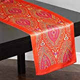 Lushomes Digital Printed Maroon Themed Polyester Table Runner