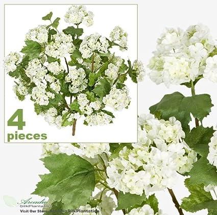 FOUR 20 SnowBall Artificial Silk Flower Bushes
