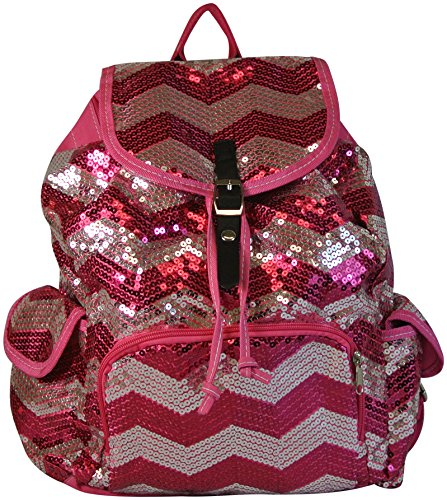 Chevron Backpack Zigzag Print Purse Sequined Book Bag Handbag Hot Pink and Silver