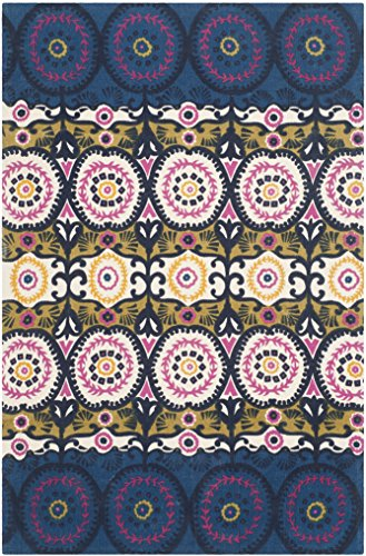 Safavieh Cedar Brook Collection CDR127E Handmade Blue and Pink Cotton Area Rug, 4 feet by 6 feet (4' x 6')