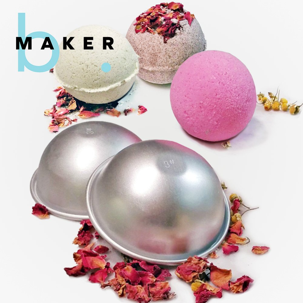 Metal Bath Bomb Mold ( 1 Set 2 Pieces) - Makes Incredible Spherical Bath Balls - Premium Finish - Easy to Use Bath Fizzie Molds -Durable Material, Perfect Size