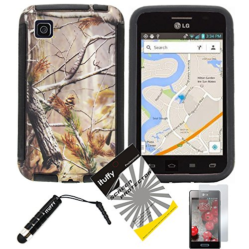 3 items Combo: ITUFFY (TM) LCD Screen Protector Film + Mini Stylus Pen + Design Wrap-Up Cover Faceplate Skin Phone Case for LG Optimus Dynamic II LG39C L39C (Net 10, StraightTalk, Tracfone) (Tree Camouflage - Black) (Lg Optimus Dynamic Ii Covers compare prices)