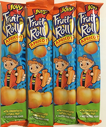 0.75oz Jovy Fruit Roll Snack, Apricot (4 Packets Per Order) (Jovy Fruit Rolls compare prices)