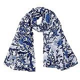 Ecowonder Women's Functional Long 100% Premium Silk Scarf Floral Printing Porcelain