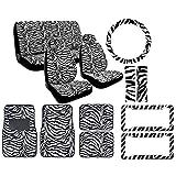 12-Piece Animal Print Automotive Interior Gift Set – 2 Universal-Fit Zebra Bl… thumbnail