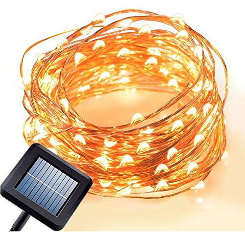 Emwel Solar Powered LED String Lights 10M/33FT 100 LEDs Outdoor Solar Powered LED String Lights Waterproof Copper Wire Lights for Garden Party (Warm White)