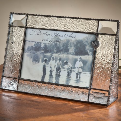 J Devlin 4x6 Horizontal Stained Glass Picture Frame - Vintage & Bevels with Heart Charm