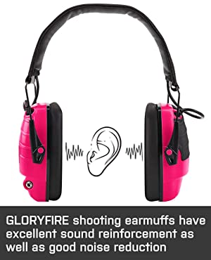 GLORYFIRE Electronic Shooting Earmuff Sound Amplification 6 Times Electric Earmuffs Perfect for Hunting and Shooting (Color: PINK)