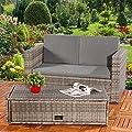 Lounge Gartenmöbel Sofa Bank Tisch klappbar Rattan Gartenset Sitzmöbel grau von Melko - Gartenmöbel von Du und Dein Garten