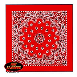 """Hot Leathers Bikers Bandanas Collection Original Design, 21"""" x 21"""" - BANDANA RED PAISLEY DESIGN by Officially Licensed & Trademarked Products"""