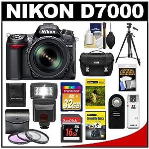 Nikon D7000 Digital SLR Camera & 18-200mm VR II DX AF-S Zoom Lens with 32GB & 16GB Cards + Case + DVD + Tripod + Flash + 3 Filters + Remote + Accessory Kit