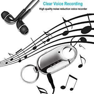 16GB Voice Recorder, Digital Keychain Audio Activated Recording, Intelligent Noise Reduction, Recording That Does Not Cause Any Attention,160mAh for Meetings, Lectures, Business Negotiations, Silver (Tamaño: Keychain)