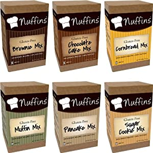 Nuffins Gluten Free Mixes - Variety Pack (Chocolate Cake + Brownie + Cornbread + Muffin + Pancake + Sugar Cookie)