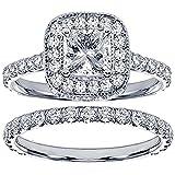 2.42 CT TW Pave Set Diamond Encrusted Princess Cut Engagement Bridal Set in 14k White Gold