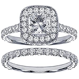 2.42 CT TW Pave Set Diamond Encrusted Princess Cut Engagement Bridal Set in 14k White Gold - Size 3.5